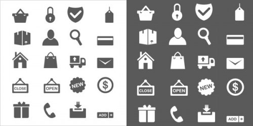 20 Minimal ecommerce icons (vector PSD)