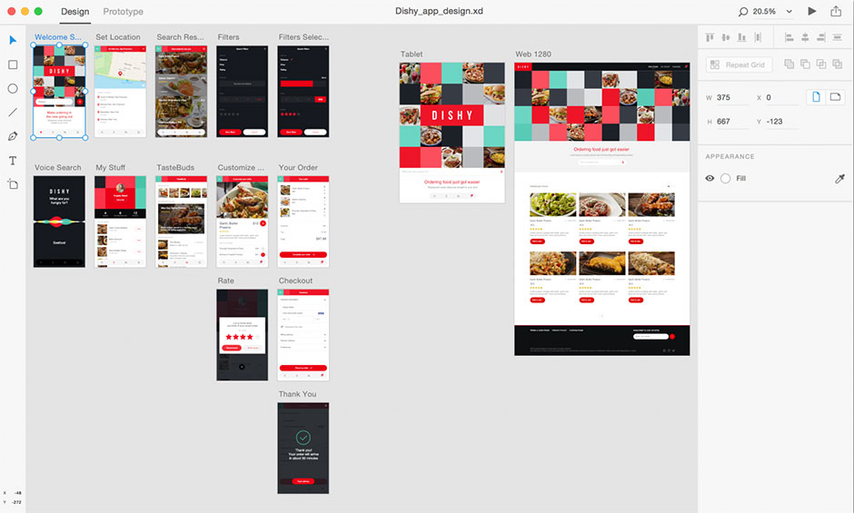 Adobe XD - Pasteboard / Workspace