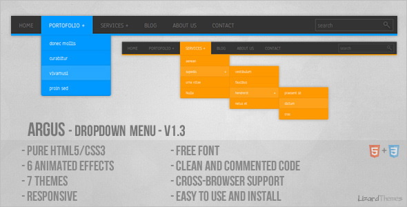 38 Attractive And Classic Drop Down Menu In HTML5 And CSS3