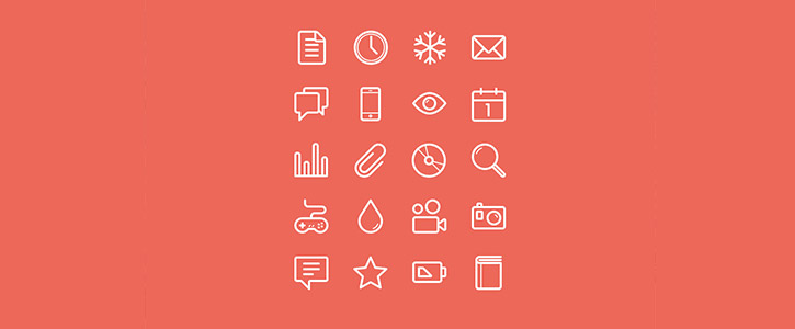Flat Stroke Line Icons Set Vol 1