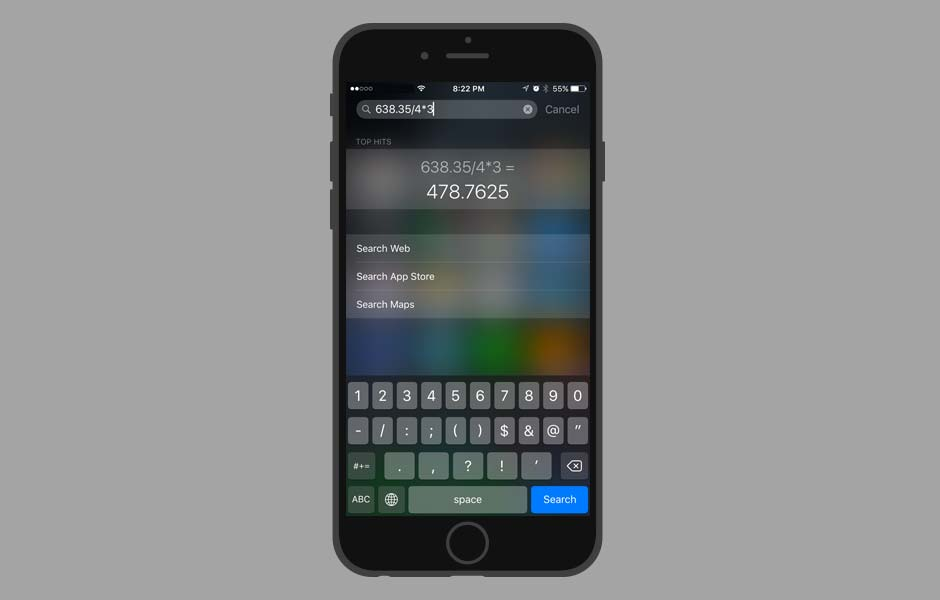 iOS TIps and Tricks - Do quick Math calculation with Search Bar
