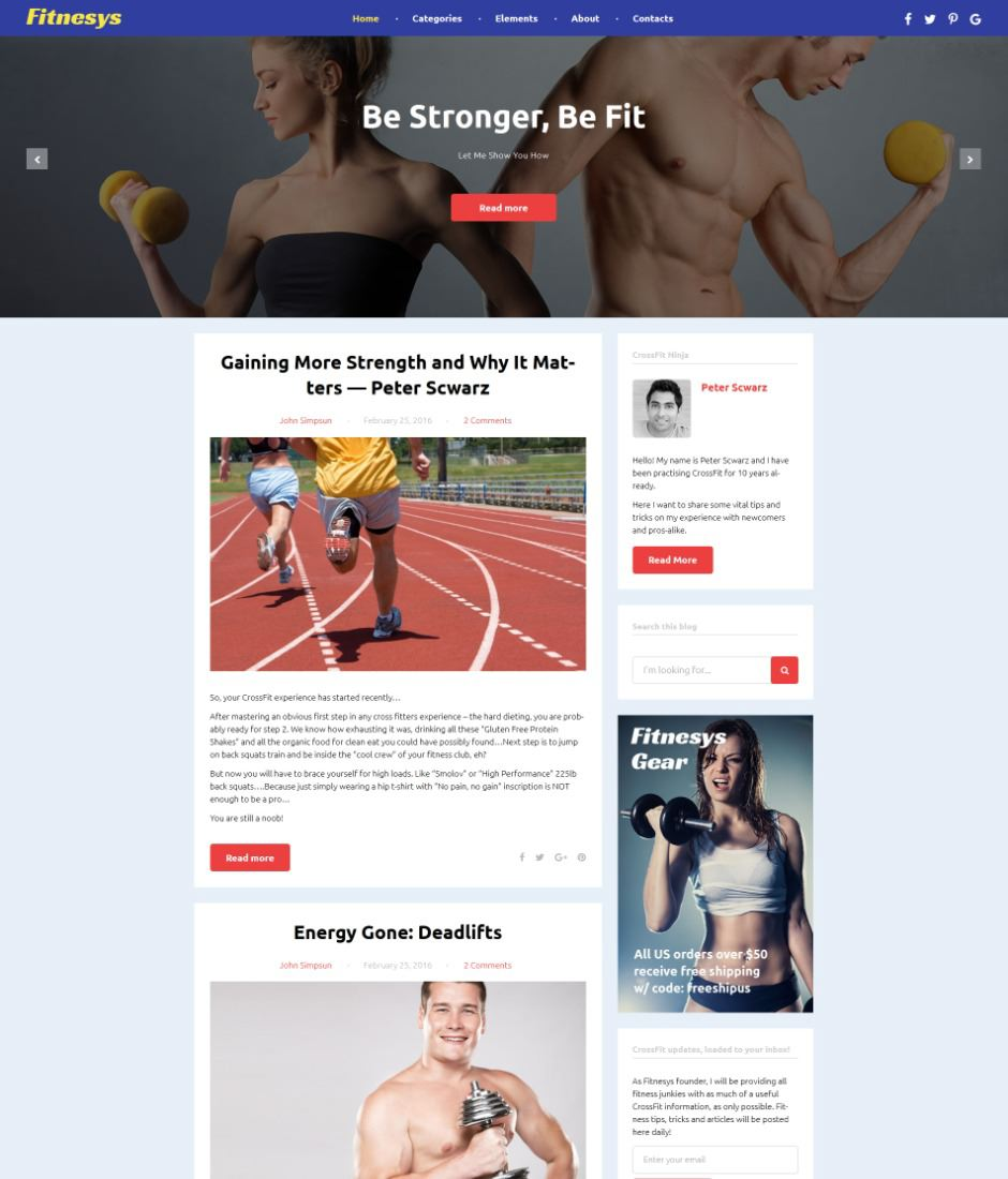 Fitnesys - Fitness Blog WordPress Theme