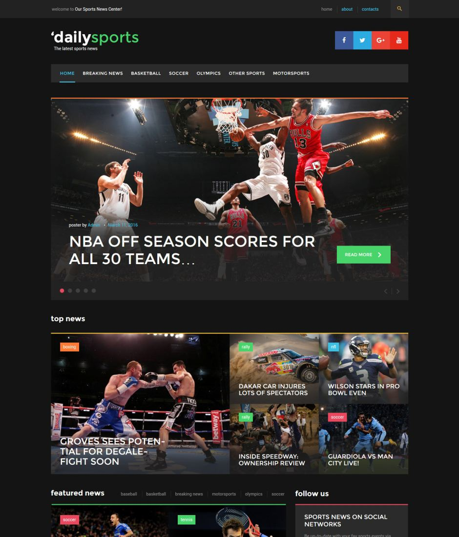 DailySports - Sport News Blogging WordPress Theme