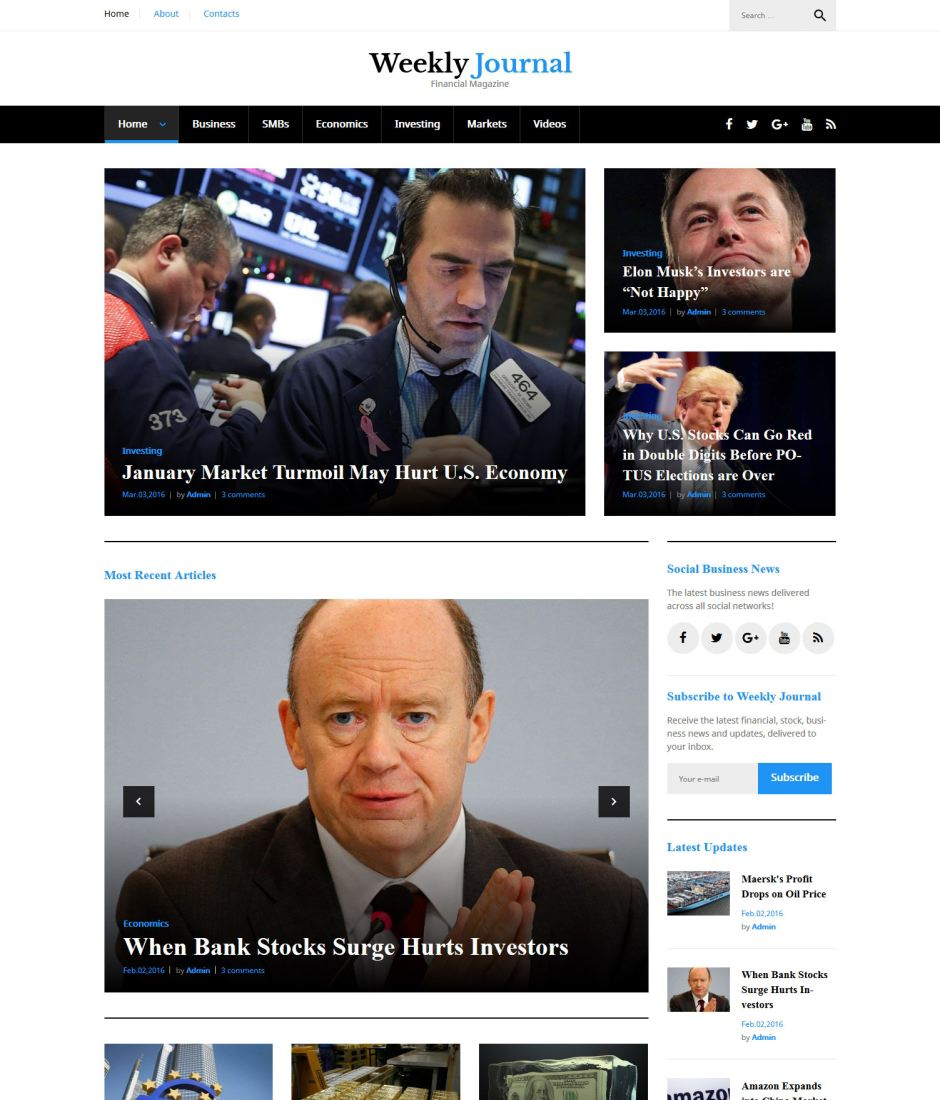 Weekly Journal - Financial Magazine WordPress Theme